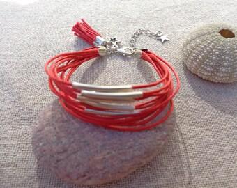 Cotton bracelet Cuff Bracelet silver bracelet red bracelet multi-tubes