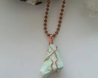 Truth - Chrysoprase Necklace, Wire Wrapped Pendant, Rough Gemstones, Copper Jewelry, Crystal Healing, Metaphysical, Chrysoprase Pendant