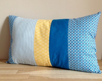 30 x 50, blue and yellow Patchwork Cushion cover