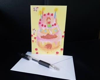 Birthday girl's cake - Birthday Card