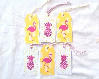 6 labels pineapple and Flamingo Pink with twine