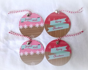 """4 """"Cottage"""" labels round Bell, Christmas"""