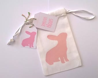 Small fabric bag pink Bunny and his two labels Easter