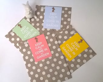 "4 pouches Easter gift, label ""Keep Calm and come in my garden"""