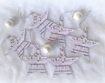 6 Christmas tags-star, Christmas song