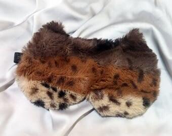 Brown Soft Furry Cat sleep mask - Cute Fluffy Fur kitty eye mask - Pj party favor - Travel mask - fluffy blindfold - Slumber party eye mask