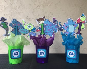 Monsters inc centerpieces, monster inc centerpiece, sully, boo, mike wazowski, pixar birthday,