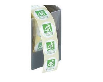 Set of 100 - labels stickers organic round 20 mm Green and white