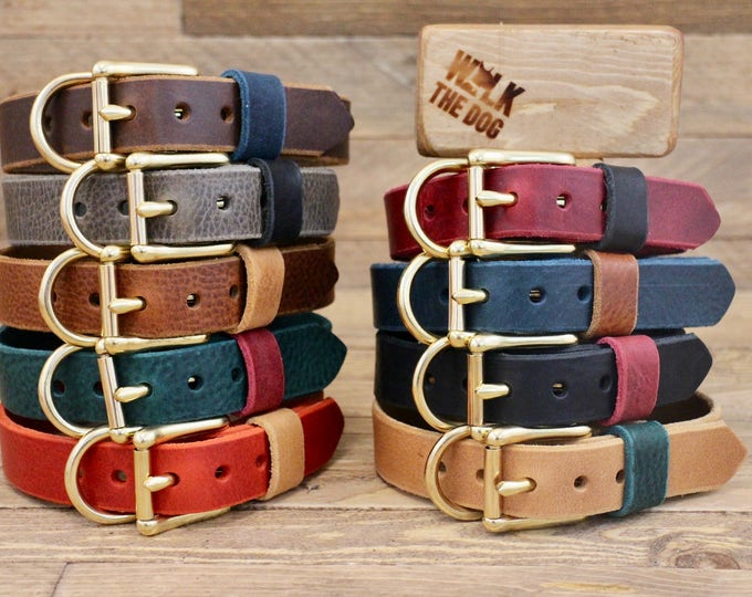 Dog collar, Leather dog collar, FREE ID TAG, Handmade leather collar, Brass hardware, Pet supplies, Colorful collars, Red collar, colour.