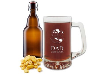 Personalized World's Best Dad 25oz Beer Mug - Personalized Glass Tankard for Dad - Heavy Ale Glass with Best Dad Motif and Free Engraving