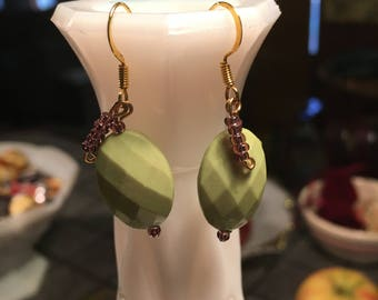 Bright Green Oval Earrings