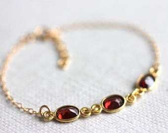 Garnet Bracelet, Gold Filled Chain, Delicate Jewelry, Dark Red Gemstone, Blood Red