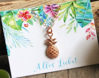 Pineapple Charm Necklace, Rose Gold Filled Chain, Summer Jewelry, Tropical Necklace, Fruit Jewelry