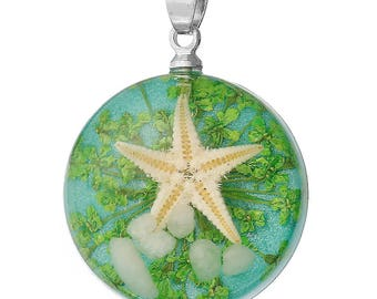 Acrylic Pendant with Tiny Real Starfish Inside, Pack of 2 (2056)