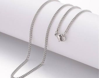 "3 (304) Stainless Steel Curb Chain Necklaces 17.75"" long  (B103i)"