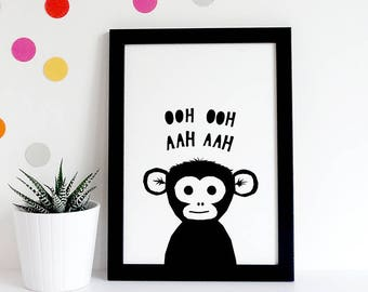 Monkey Print Nursery Art, Baby Animal Print, Monochrome Nursery Printable, Monochrome Nursery Print, pdf a4 print,