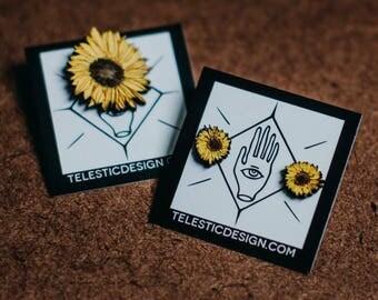 Sunflower Stud Earrings, Handmade Sun Flower Earring and Brooch Set