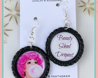 Beauty School Dropout Frenchy Bottle cap Dangle Earrings Rockabilly Pinup