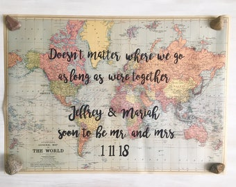 CUSTOM QUOTE Vintage Paper Map Quote Hand Lettered Calligraphy, Travel quote, Map quote, Hand Lettering, Custom Quote Print