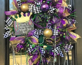 MARDI GRAS Wreath-beads and bling, its a Mardi Gras thing