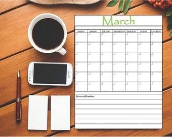 Printable Blank Calendar~Printable Calendar~Office Calendar~Monthly Calendar~Kitchen Calendar~Digital Calendar~12 Month Calendar~Planner