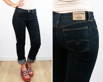 REPLAY Vintage 90's Straight Cut Regular Waist Black Dark Wash Jeans | Women's Jeans |  Size W 28 - L 32
