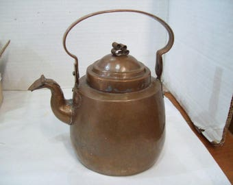 Antique Hammered Copper Teapot with Tin Lining, Free Shipping