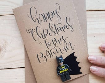 Valentines Card for Boyfriend / Batman fan / Thor / Marvel / Superman / Husband / lego figure card / Personalised Unique Christmas Card