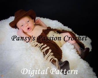 CHAPS & COWBOY HAT for Newborn 0-3 months - Crochet Pattern