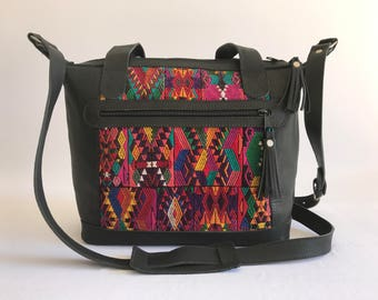 Day Bag, Guatemalan day bag, Huipil Bag, Guatemalan textile bag. Handmade bag, Black Leather bag