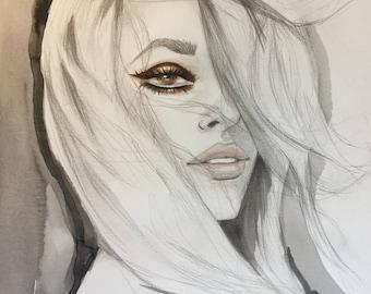 Original Artwork Watercolour Painting Sharon Tate Inspiration