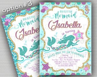 Mermaid Invitation, Mermaid Birthday Invite Teal Purple Gold Sparkle, Under The Sea Invitation Mermaid Party, Summer Invitation Printable