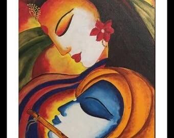 Radha Krishna painting, Indian Contemporary art, Traditional, Couple Figurative art, Modern Wall Art, Home Decor, Acrylic original painting