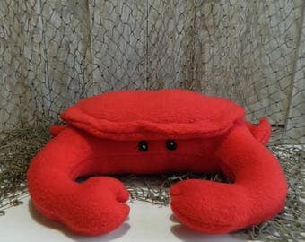 Plush red fleece stuffed crab animal, crab pillow, gift for girls, gift for boys, sea creatures, nautical decor