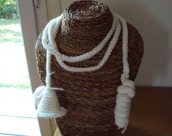 crocheted white woolen long necklace or hair adornment
