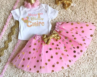 Pink and Gold Minnie Mickey Mouse Birthday Girl Shirt Tutu Boutique Hat Personalized Matching Pink Gold Disney Birthday