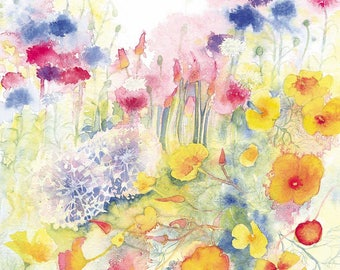 Floral Party Watercolour Print