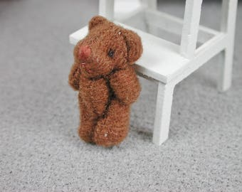 Teddy in the Middle brown color for the doll, the Dollhouse, miniature dollhouse miniatures