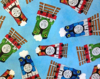"Thomas and Friends engines on blue by VIP, by the half yard, 43-44"" wide, 100% cotton - juvenile fabric - character fabric - thomas fabric"