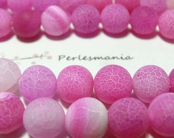 2 beads effect frosted Crackle Agate 10mm hot pink