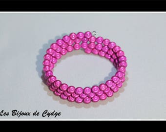 Pink magic beads on 3 rows of 55mm memory bracelet