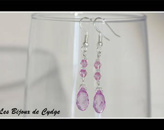 Earrings and its drop purple has its tops