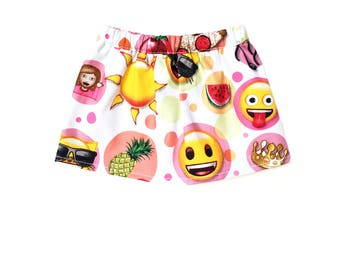 Flare Skirt, Emoji, White, Yellow, Red, Summer, Fits dolls such as American Girl, 18 inch Doll Clothes