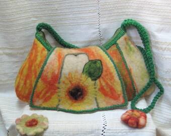 Sunflower handbag, Sunflower felt bag, Handmade bag of wool, Felt Handbag, Hobo bag, Felt Hobo Handbag, Wool Sunflower Hobo bag, Handbag