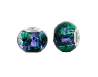 set of 2 clear glass charm beads, speckled green and purple 14 mm x 10 mm