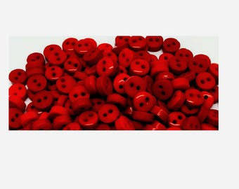 Lot of 400 small red buttons 6 mm 2 hole, scrapbooking