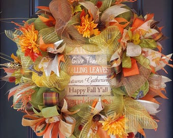 Thanksgiving quotes fall wreath