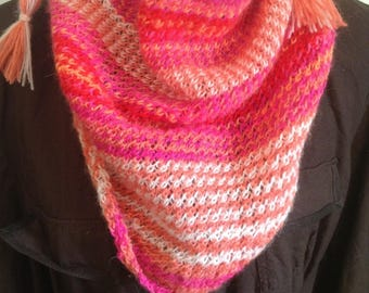 """Shades of orange and pink hand knitted women scarf scarf """"Garance"""""""