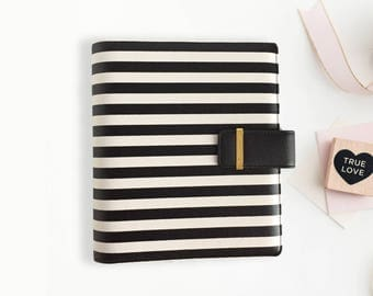 A5 Black and White Striped Leather Planner Binder, Black and White Stripe Planner, A5 planner binder