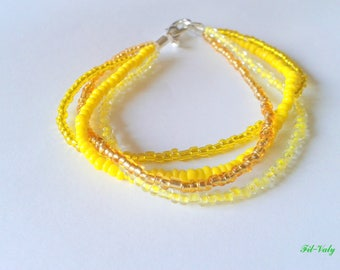 Bracelet yellow gradation seed beads